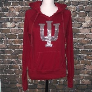 IU Indiana University hoodie bling logo women's
